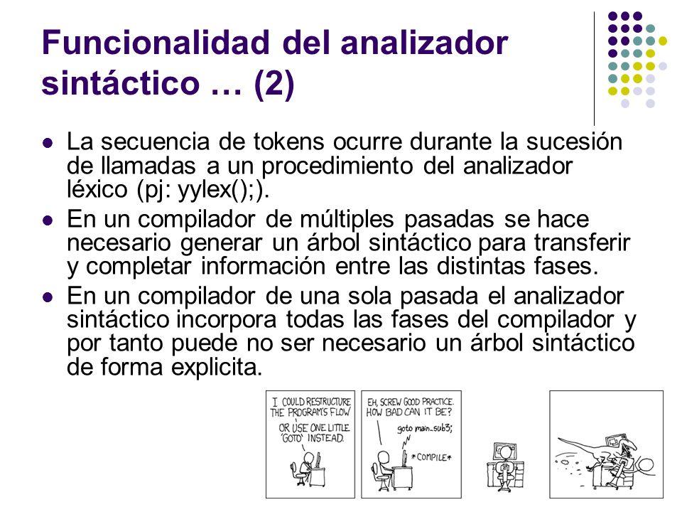 Funcionalidad del analizador sintáctico … (2)