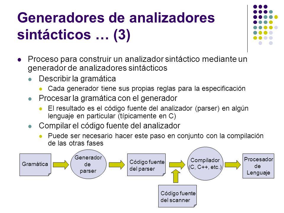 Generadores de analizadores sintácticos … (3)