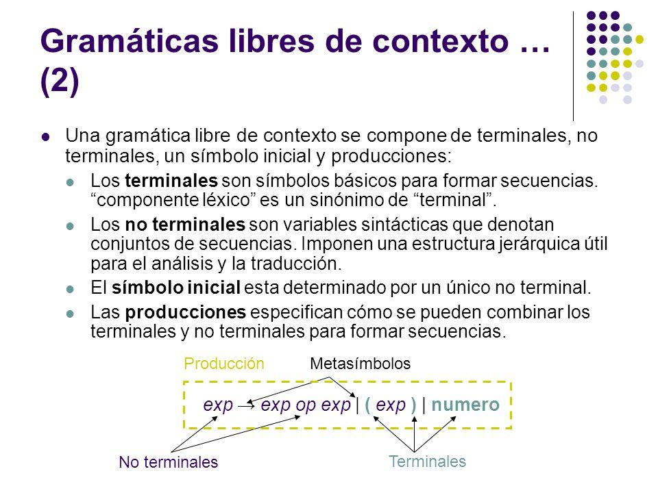 Gramáticas libres de contexto … (2)