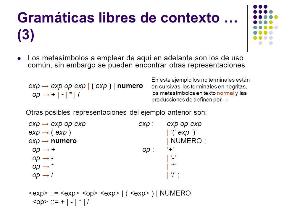 Gramáticas libres de contexto … (3)
