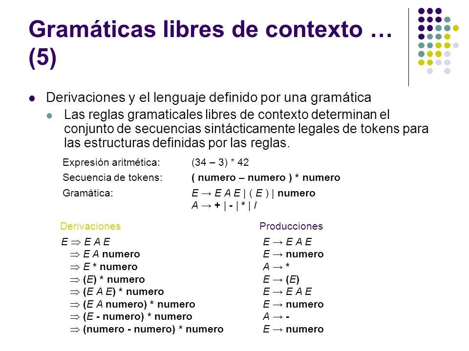 Gramáticas libres de contexto … (5)