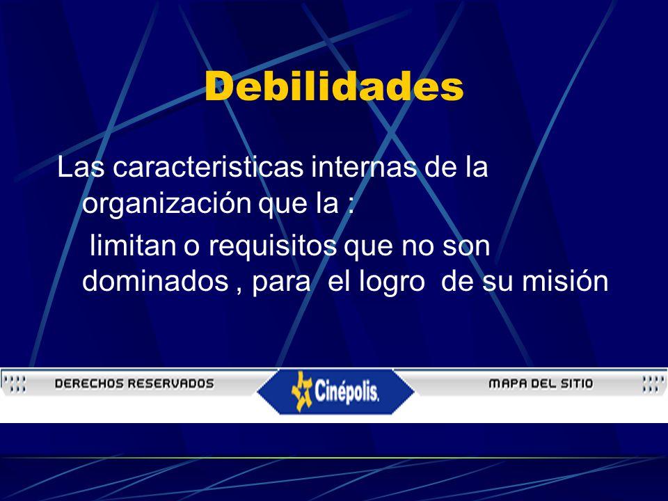 Debilidades Las caracteristicas internas de la organización que la :