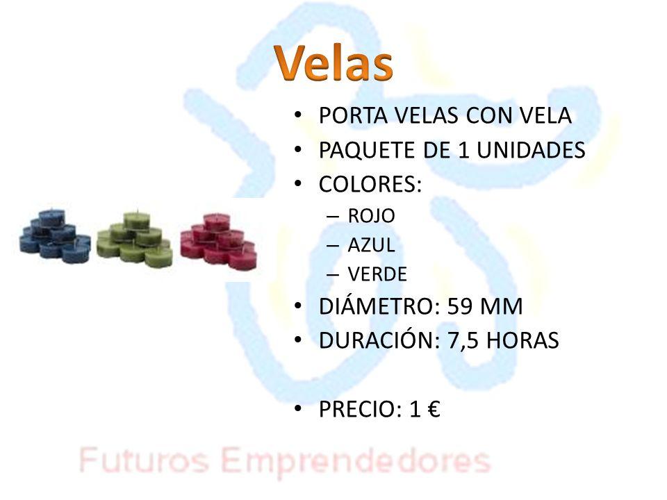 Velas PORTA VELAS CON VELA PAQUETE DE 1 UNIDADES COLORES: