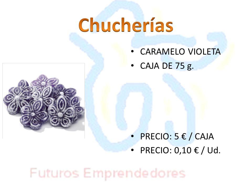 Chucherías CARAMELO VIOLETA CAJA DE 75 g. PRECIO: 5 € / CAJA