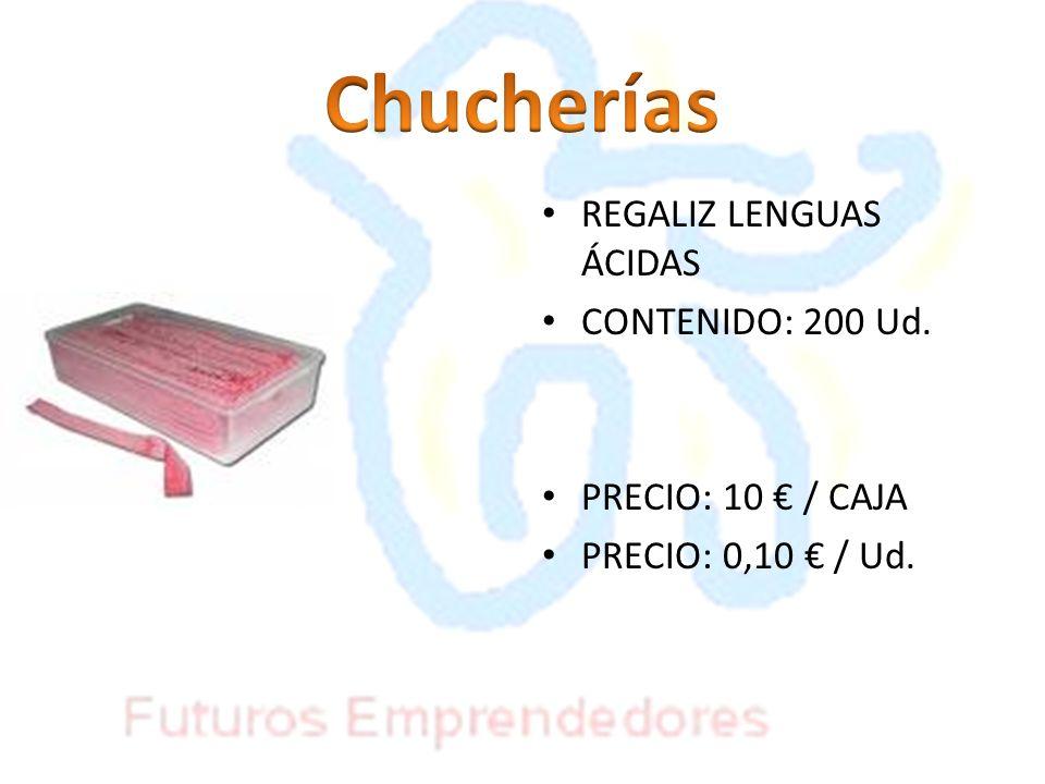 Chucherías REGALIZ LENGUAS ÁCIDAS CONTENIDO: 200 Ud.