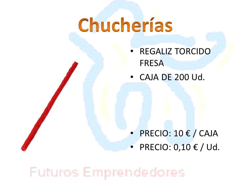 Chucherías REGALIZ TORCIDO FRESA CAJA DE 200 Ud. PRECIO: 10 € / CAJA