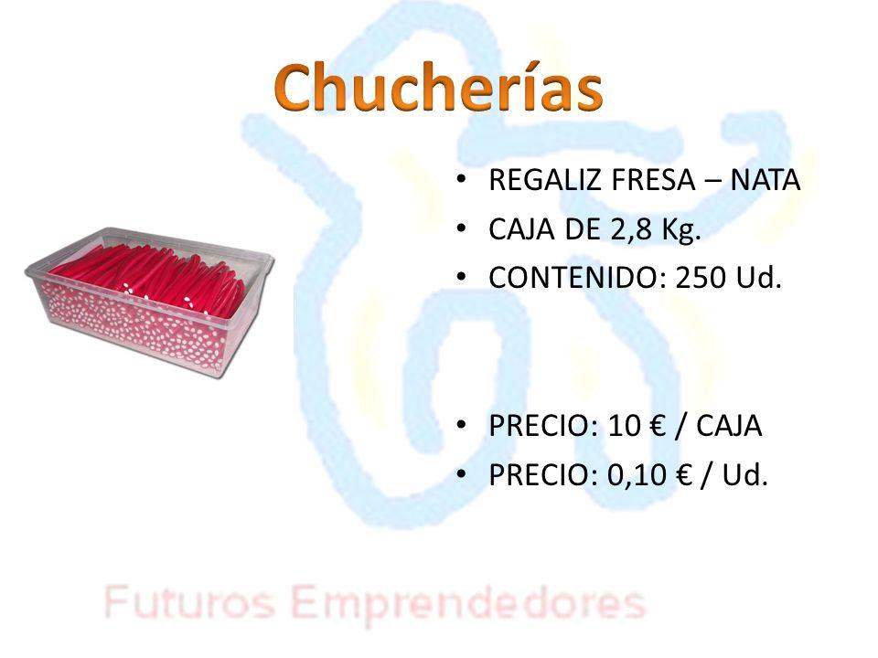 Chucherías REGALIZ FRESA – NATA CAJA DE 2,8 Kg. CONTENIDO: 250 Ud.