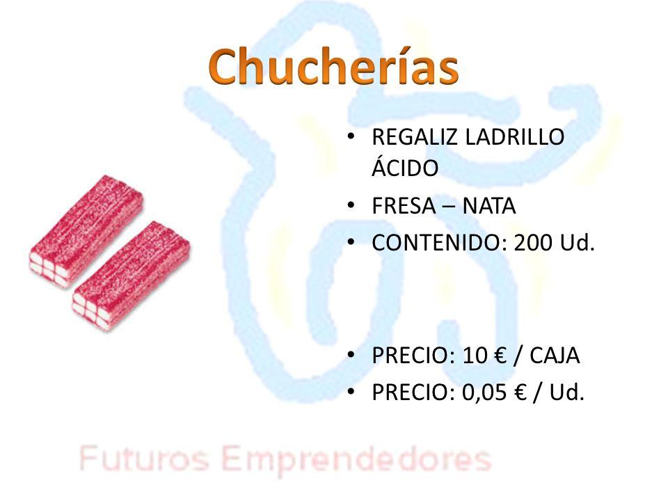 Chucherías REGALIZ LADRILLO ÁCIDO FRESA – NATA CONTENIDO: 200 Ud.