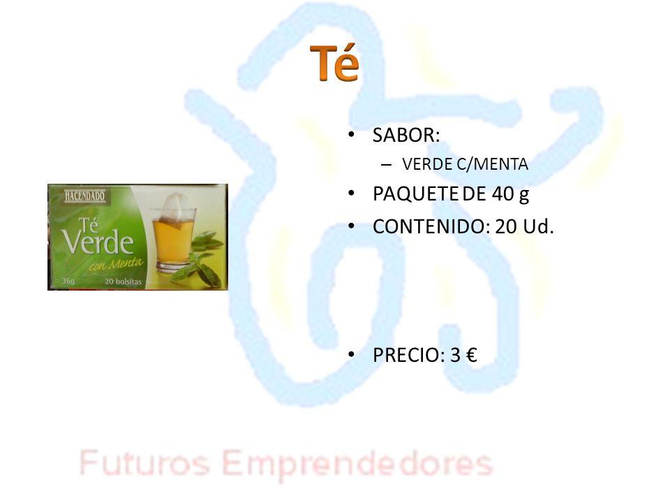 Té SABOR: VERDE C/MENTA PAQUETE DE 40 g CONTENIDO: 20 Ud. PRECIO: 3 €