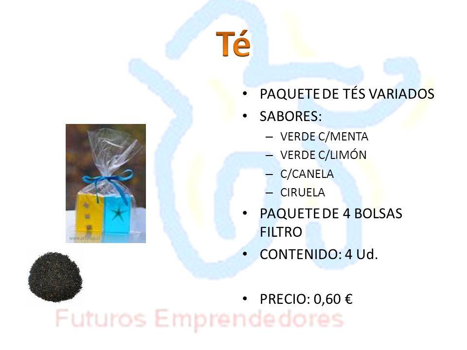 Té PAQUETE DE TÉS VARIADOS SABORES: PAQUETE DE 4 BOLSAS FILTRO