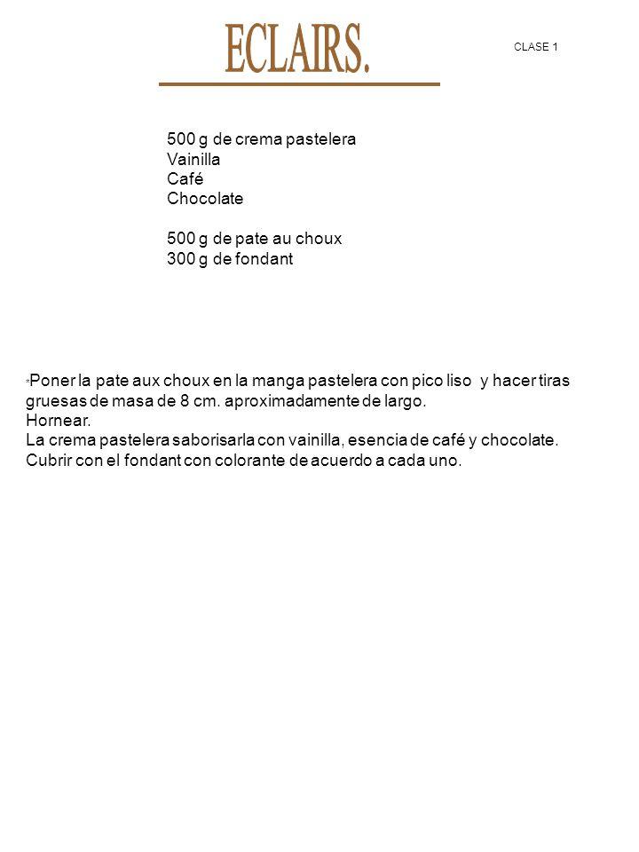 ECLAIRS. 500 g de crema pastelera Vainilla Café Chocolate