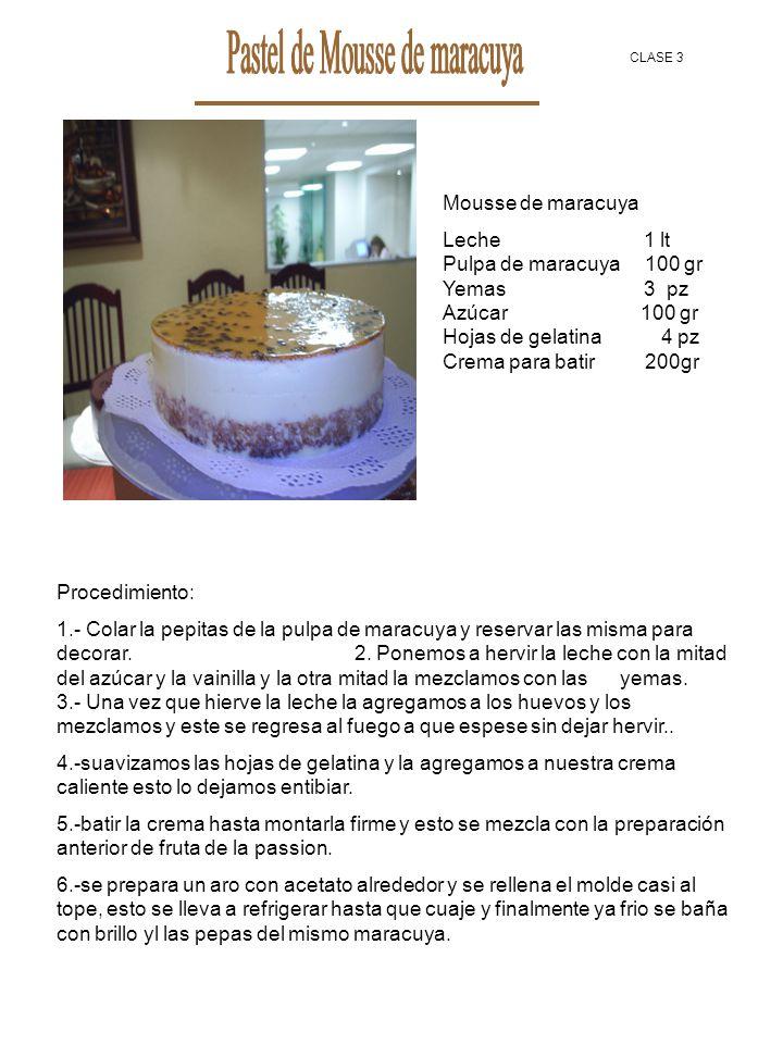 Pastel de Mousse de maracuya