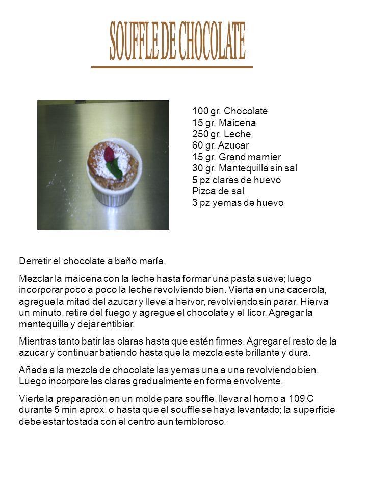 SOUFFLE DE CHOCOLATE 100 gr. Chocolate 15 gr. Maicena 250 gr. Leche