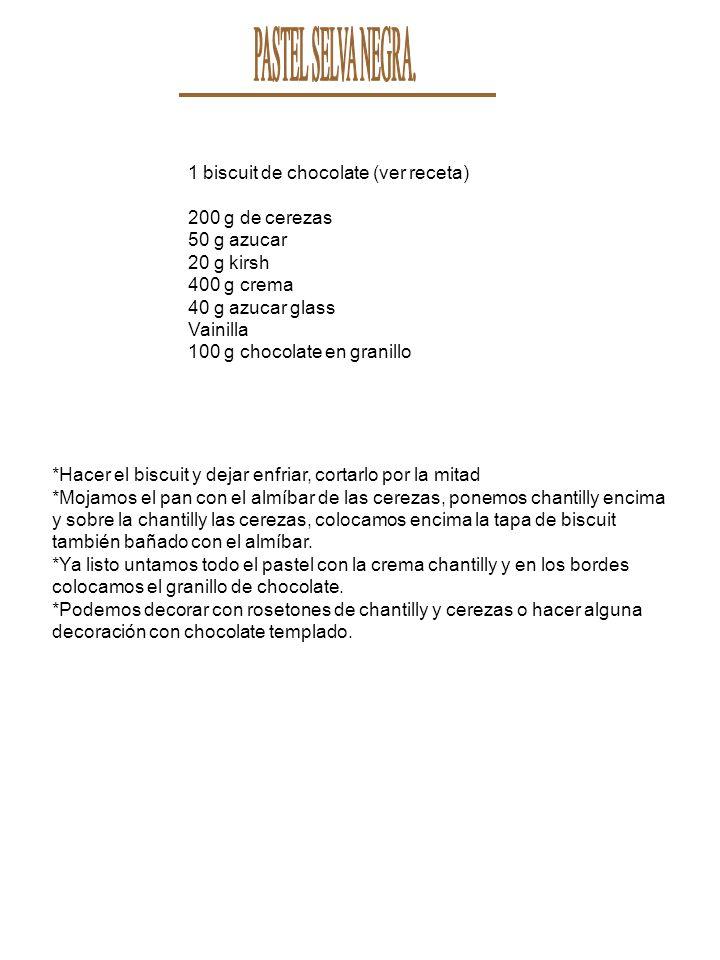 PASTEL SELVA NEGRA. 1 biscuit de chocolate (ver receta)
