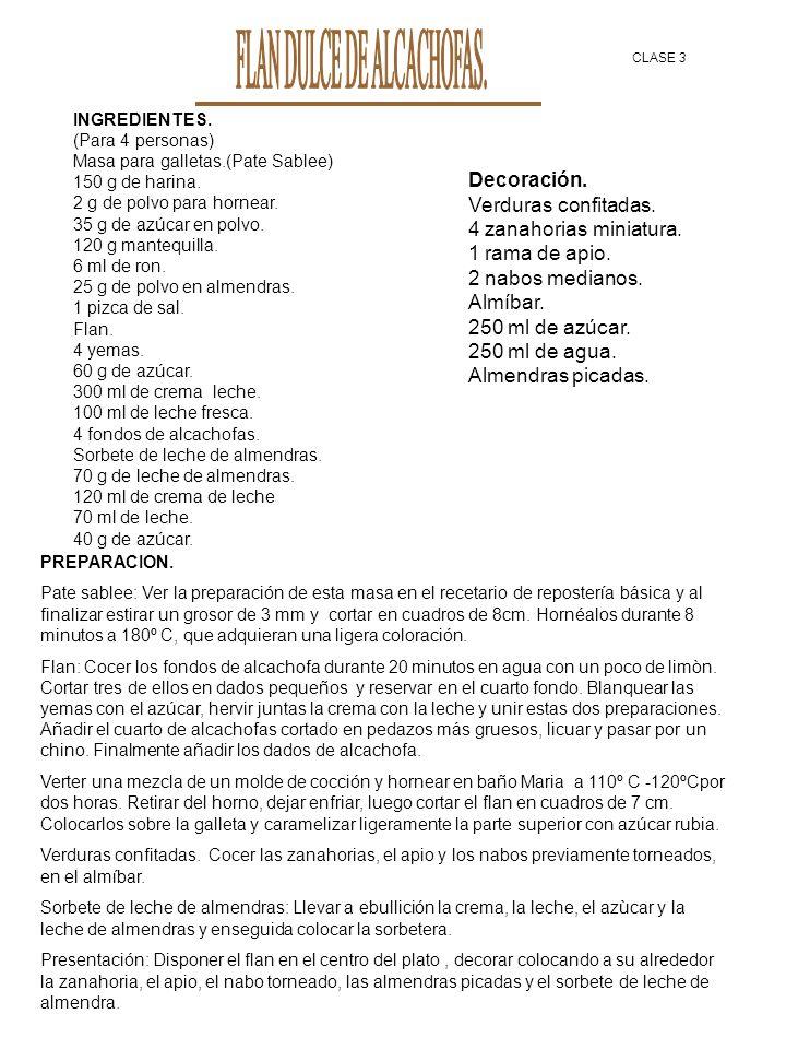 FLAN DULCE DE ALCACHOFAS.