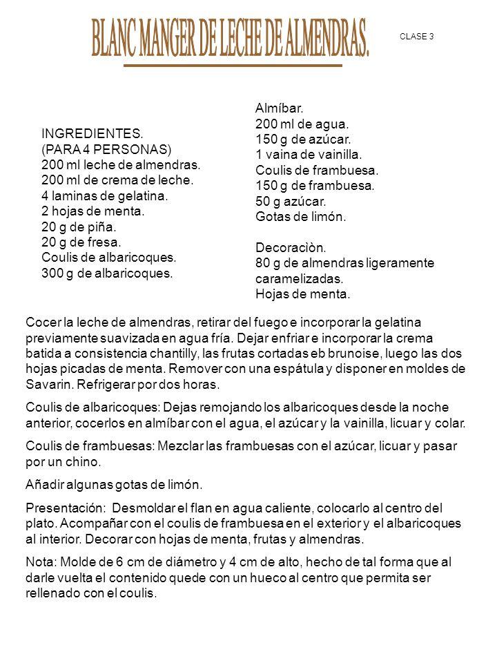 BLANC MANGER DE LECHE DE ALMENDRAS.