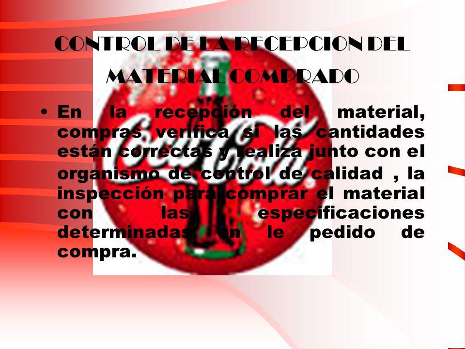 CONTROL DE LA RECEPCION DEL MATERIAL COMPRADO