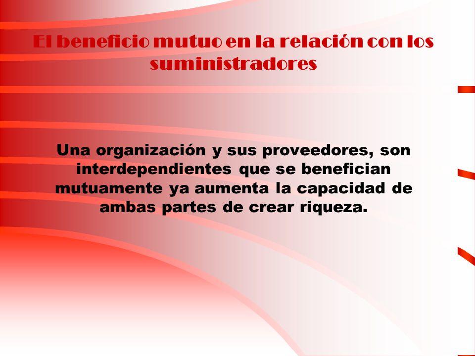 El beneficio mutuo en la relación con los suministradores Una organización y sus proveedores, son interdependientes que se benefician mutuamente ya aumenta la capacidad de ambas partes de crear riqueza.