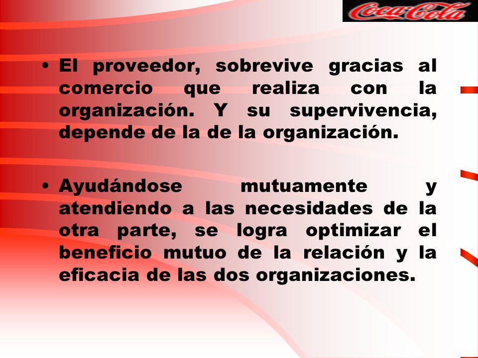 El proveedor, sobrevive gracias al comercio que realiza con la organización. Y su supervivencia, depende de la de la organización.