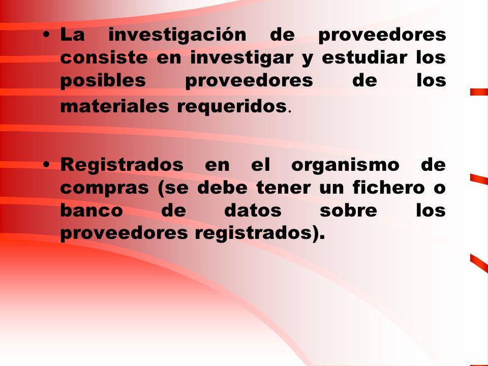 La investigación de proveedores consiste en investigar y estudiar los posibles proveedores de los materiales requeridos.