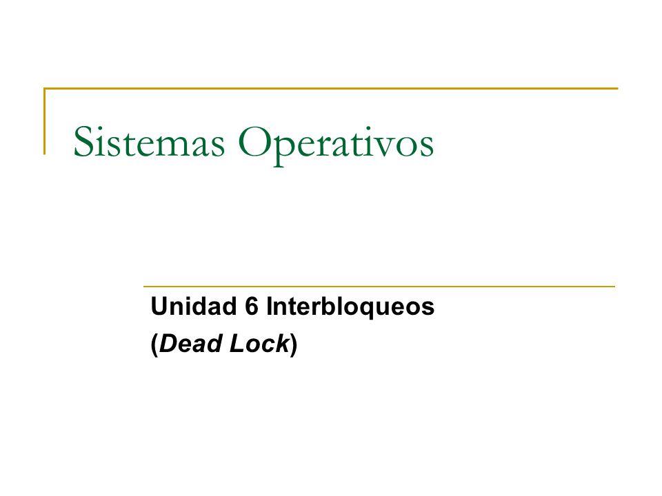 Unidad 6 Interbloqueos (Dead Lock)