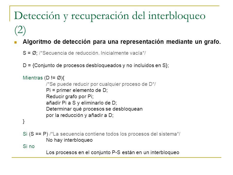 Detección y recuperación del interbloqueo (2)