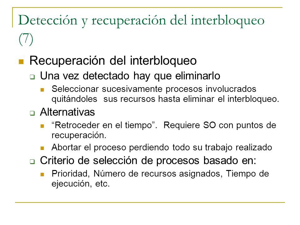 Detección y recuperación del interbloqueo (7)