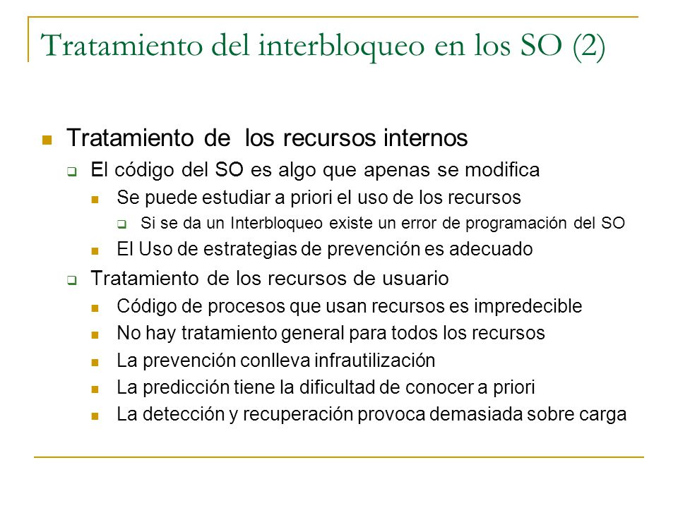 Tratamiento del interbloqueo en los SO (2)