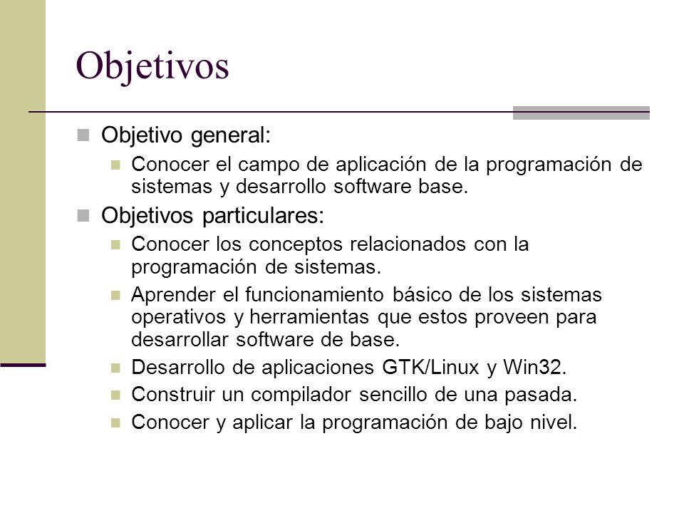Objetivos Objetivo general: Objetivos particulares: