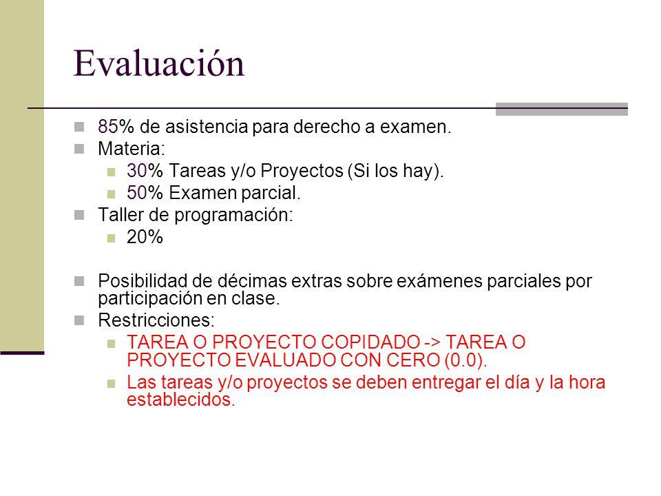 Evaluación 85% de asistencia para derecho a examen. Materia:
