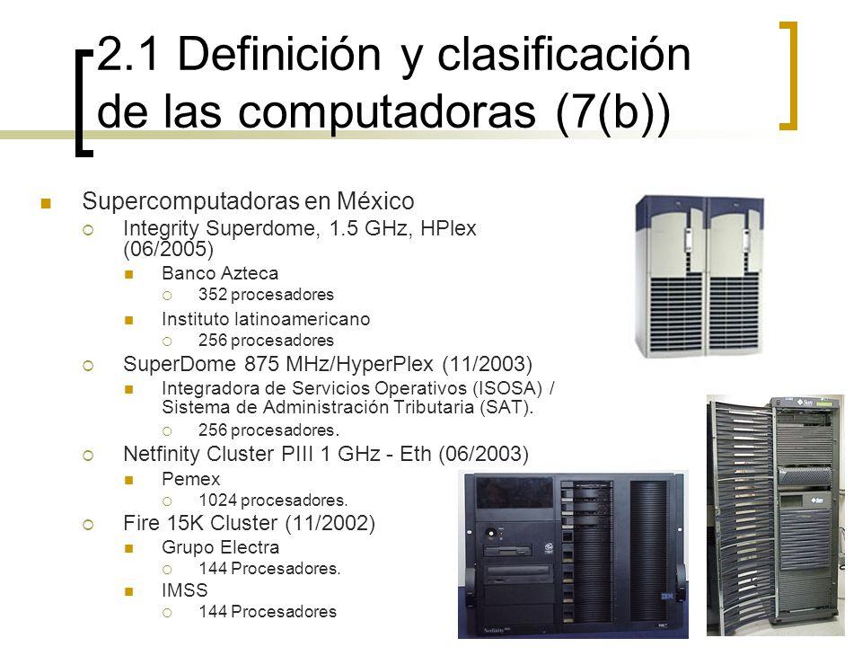 2.1 Definición y clasificación de las computadoras (7(b))