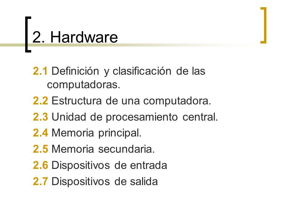 2. Hardware 2.1 Definición y clasificación de las computadoras.