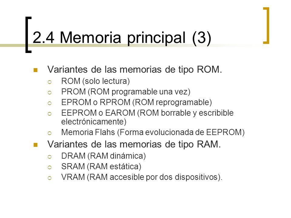 2.4 Memoria principal (3) Variantes de las memorias de tipo ROM.