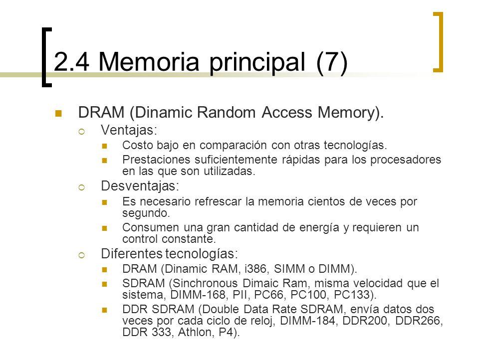 2.4 Memoria principal (7) DRAM (Dinamic Random Access Memory).