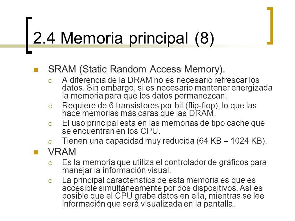 2.4 Memoria principal (8) SRAM (Static Random Access Memory). VRAM