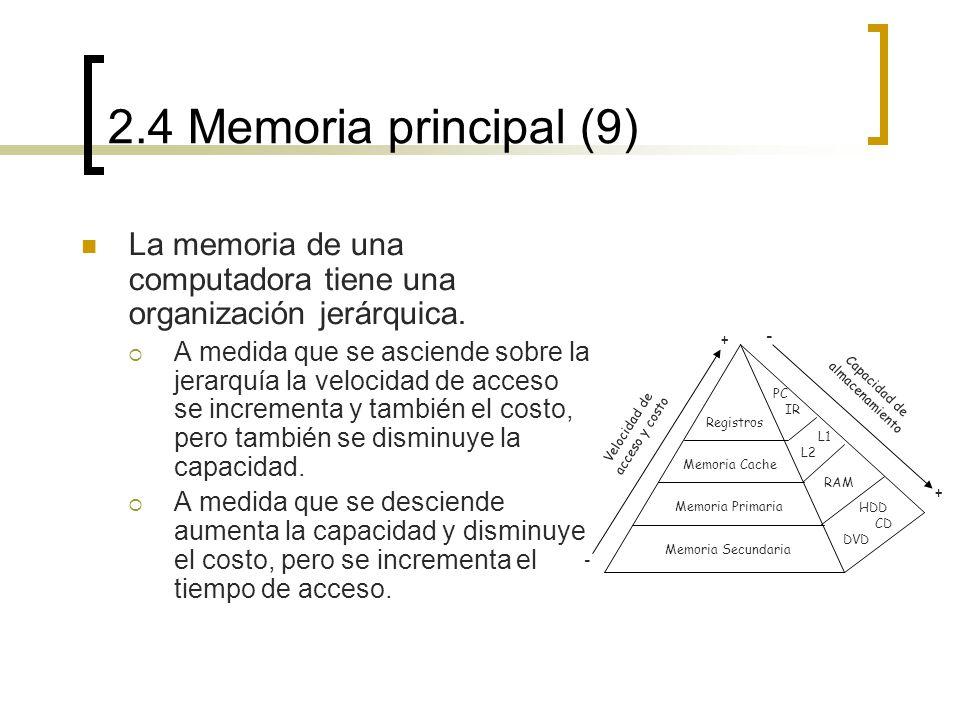 2.4 Memoria principal (9) La memoria de una computadora tiene una organización jerárquica.