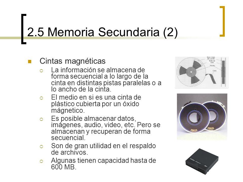 2.5 Memoria Secundaria (2) Cintas magnéticas