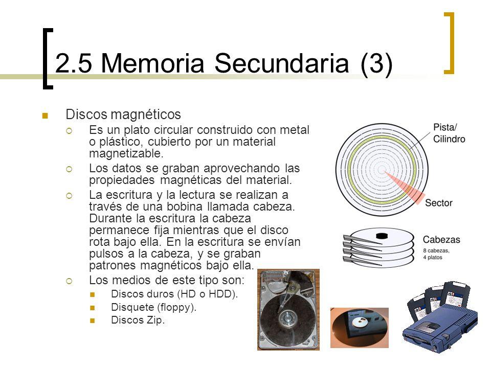 2.5 Memoria Secundaria (3) Discos magnéticos