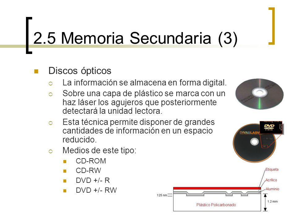 2.5 Memoria Secundaria (3) Discos ópticos