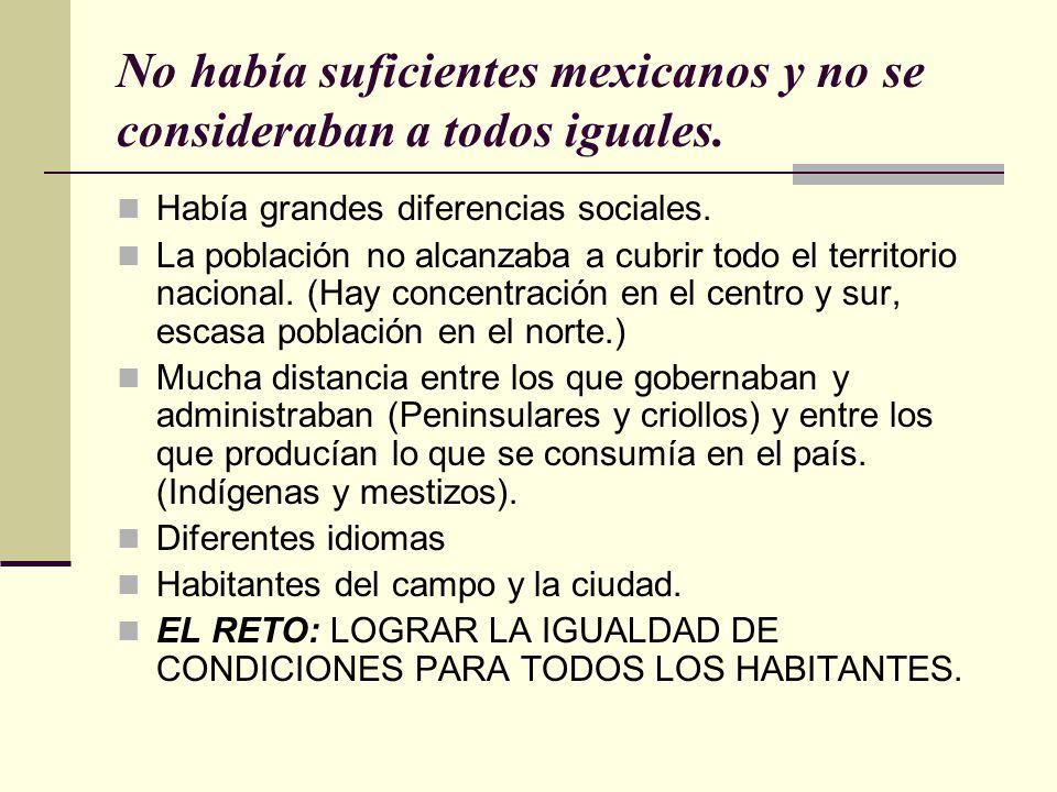 No había suficientes mexicanos y no se consideraban a todos iguales.