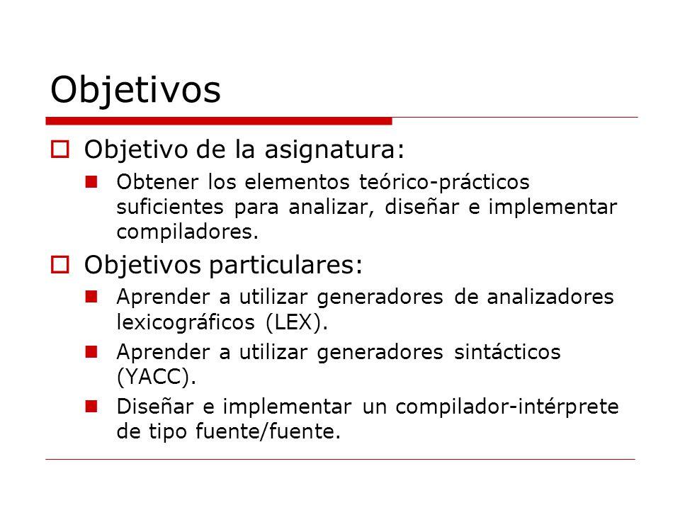 Objetivos Objetivo de la asignatura: Objetivos particulares: