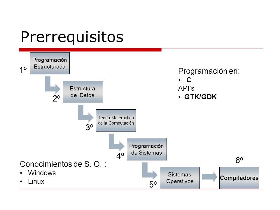 Prerrequisitos 1º 2º 3º 4º 6º 5º Programación en: