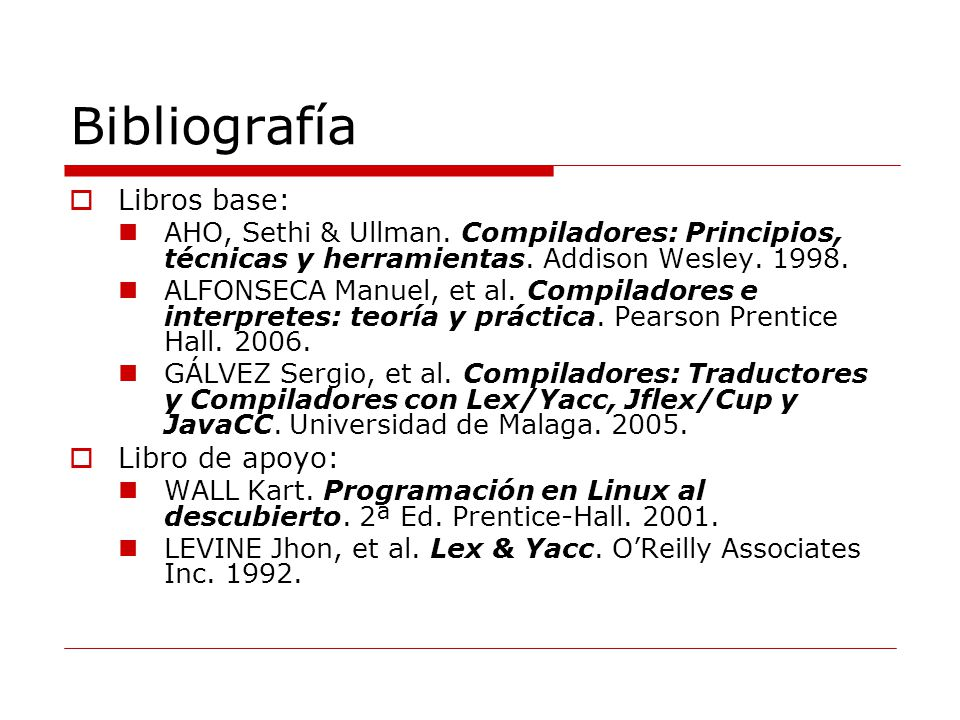 Bibliografía Libros base: Libro de apoyo: