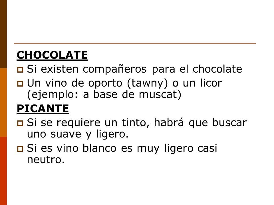 CHOCOLATE Si existen compañeros para el chocolate. Un vino de oporto (tawny) o un licor (ejemplo: a base de muscat)