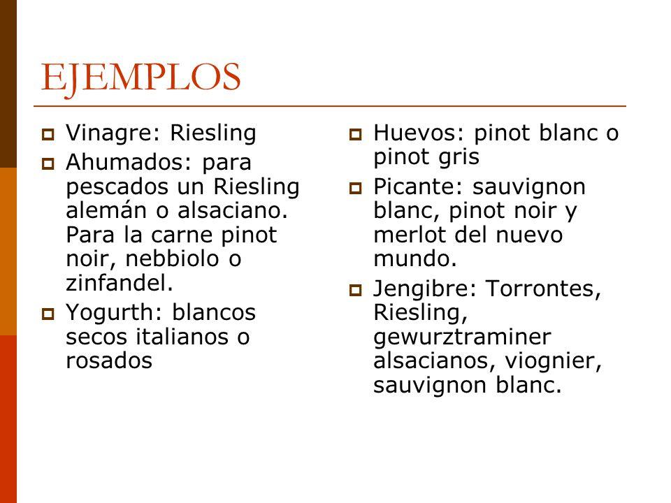 EJEMPLOS Vinagre: Riesling