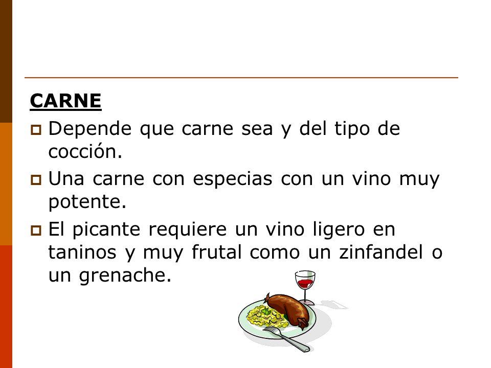 CARNE Depende que carne sea y del tipo de cocción. Una carne con especias con un vino muy potente.