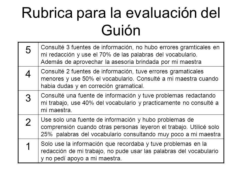 Rubrica para la evaluación del Guión