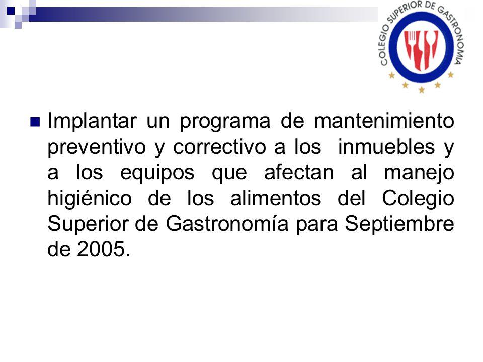 Implantar un programa de mantenimiento preventivo y correctivo a los inmuebles y a los equipos que afectan al manejo higiénico de los alimentos del Colegio Superior de Gastronomía para Septiembre de 2005.