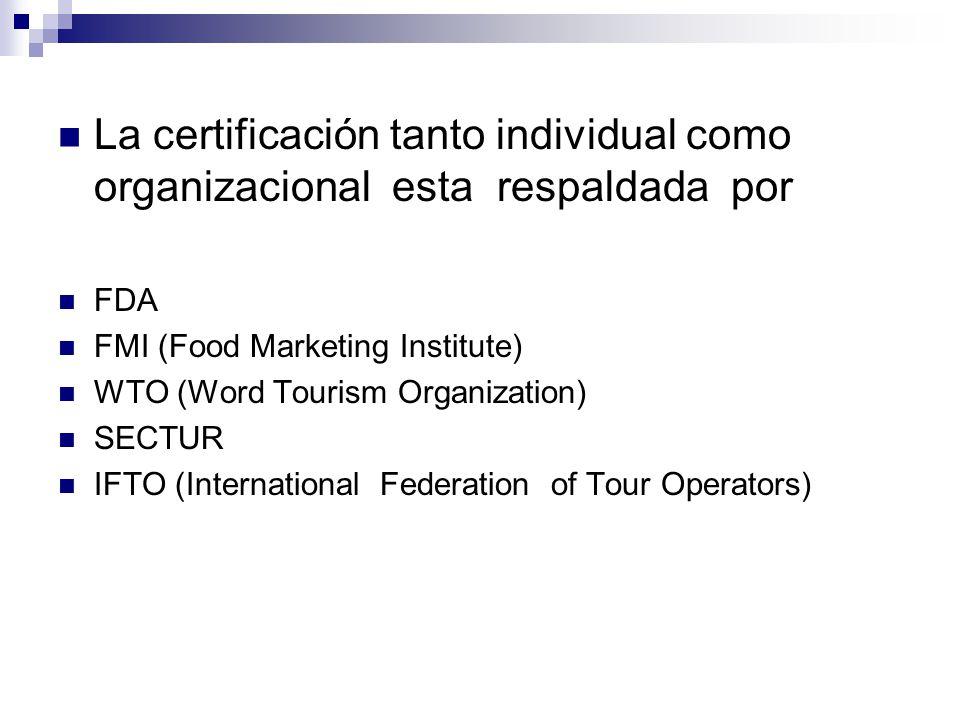 La certificación tanto individual como organizacional esta respaldada por