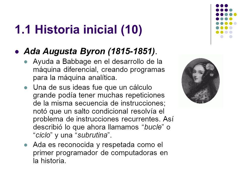 1.1 Historia inicial (10) Ada Augusta Byron (1815-1851).